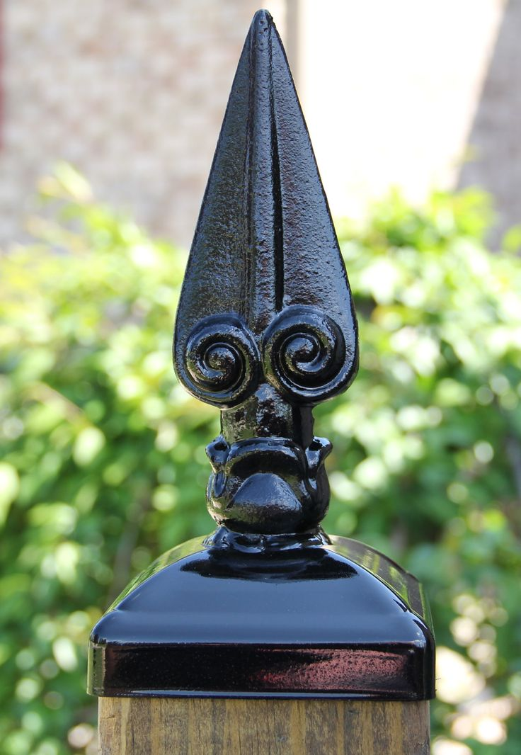 Wrought Iron Large Roman Spear post Cap for 4x4 Wood/Composite Post These fence post caps/tops can add character to any fence or deck project. Made of welded construction and heavy wrought iron they w