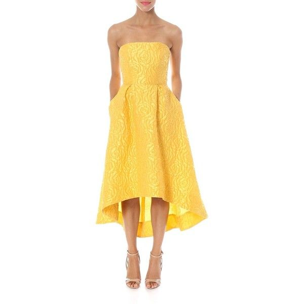 Ml - Monique Lhuillier 3D Floral Print Strapless High-Low Dress ($650) ❤ liked on Polyvore featuring dresses, sun, hi lo dresses, ml monique lhuillier dress, short in front long in back dress, strapless floral dress and yellow dress