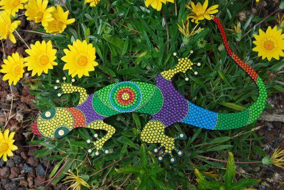 Lizard G-06. Animal mdf painted. dot art. handmade. by Mandalaole