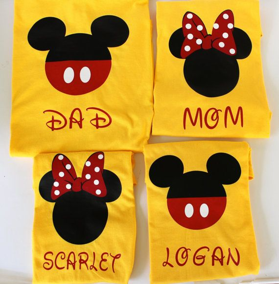 Disney Matching family shirts or Individual Minnie and Mickey Disney Custom T-Shirts Yellow, Disney family shirts