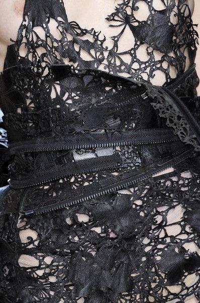 Laser cut leather dress detail - textile surface techniques; pattern & texture; fabric manipulation // Haider Ackermann