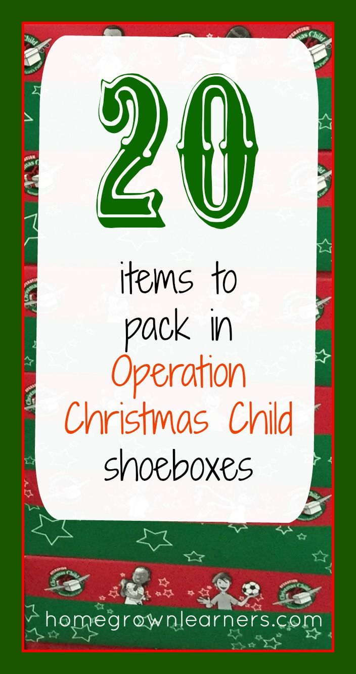 20 Items to Pack in Operation Christmas Child Shoeboxes, includes pillow case dress