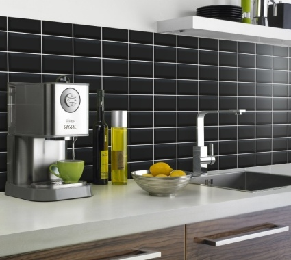 Kitchen Splashback Mini Metro Satin Black 15x75cm