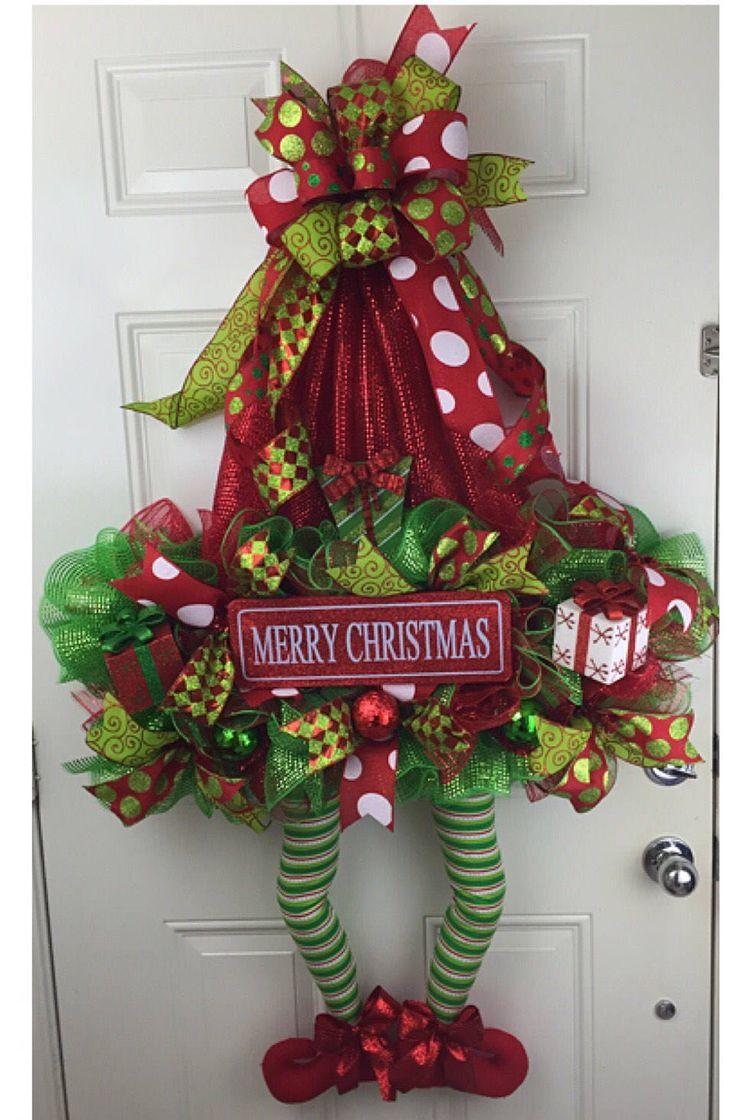 Elf Hat Deco Mesh Elf Hat Christmas Wreath by