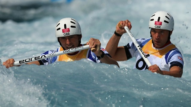 David Florence and Richard Hounslow in action during the men's Canoe Double (C2)