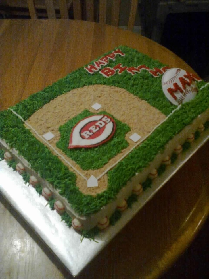 Reds Baseball Cake - 1/2 sheet two layer cake.  BC w/ crushed graham crackers for the ball field diamond.  The bases were cut out sugar sheet.
