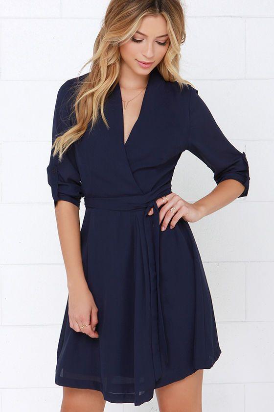 Candy Wrapper Navy Blue Long Sleeve Wrap Dress