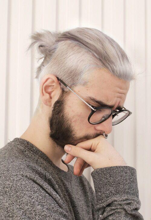 Silver blonde #manbun with beard