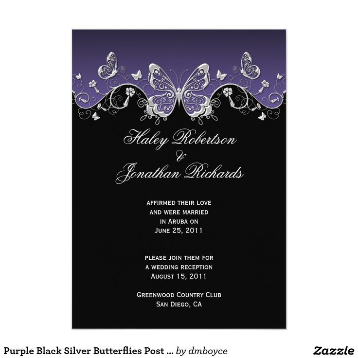 wedding invitation wording with no reception%0A Purple Black Silver Butterflies Post Wedding Card