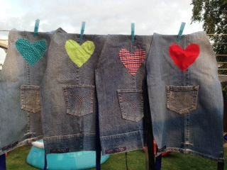 Kids Aprons made from re purposed denim