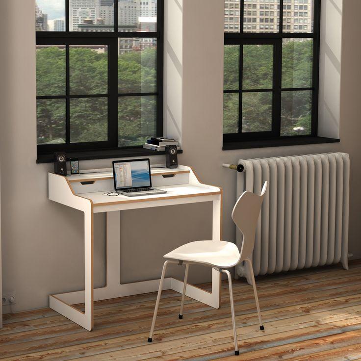 #design3000 Schreibtisch Plane – Sekretär aus Birkenschichtholz mit 2 Schubkästen.