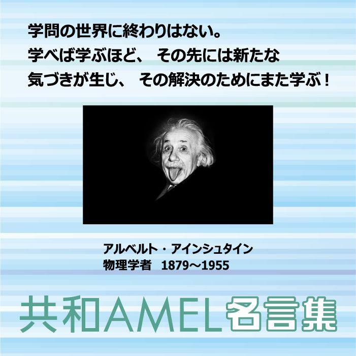 ☆共和AMEL名言集☆  アインシュタインはドイツ生まれのユダヤ人の物理学者。 天才と称され特殊・一般相対性理論の提唱者であり、1921年のノーベル物理学賞受賞。  教育に関わる人、また受ける人にも金言となる言葉です!  「学問の世界に終わりはない。学べば学ぶほど、その先には新たな気づきが生じ、その解決のためにまた学ぶ!」  なるほどと思いませんか!? そして、教える!学ぶ!ことの本来のあり方を教えてくれているような気がしませんか^o^  みなさんのコメントお待ちしております♫  #アインシュタイン #相対性理論  [共和薬品工業URL] http://www.kyowayakuhin.co.jp/