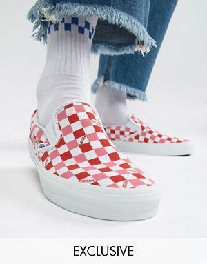 bd54b5e0058d Vans Slip On checkerboard plimsolls in pink Exclusive at ASOS ...
