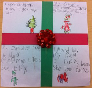 "4 square Christmas writing: I like Christmas because; My favourite Christmas character is; My favourite thing to do at Christmas time is; I would buy ? a ? because. I used 11 x 11"" white squares and we glue on 1"" strips of red and green for ribbons and a bow to top it off!"
