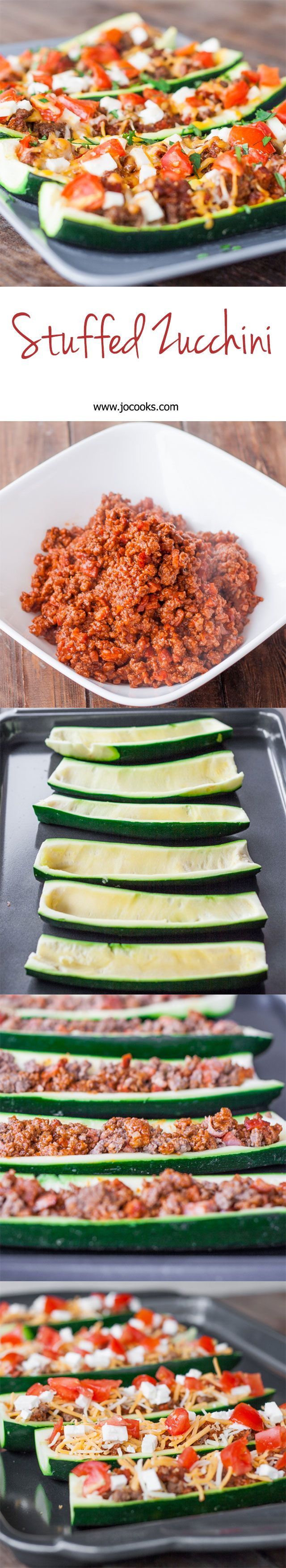 Stuffed Zucchini-substitute the ground beef for ground turkey to make it a leaner meal!! Yum! Def going to be making this SOON!!