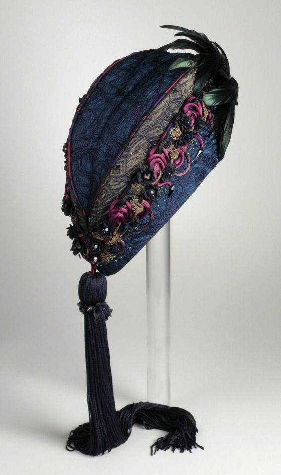 Woman's hat, 'Mud and flowers' | Designer: Kenneth King | United States, 1992 | Materials: mattelassé, satin cord, glass beads, feathers | Los Angeles County Museum of Art, LACMA