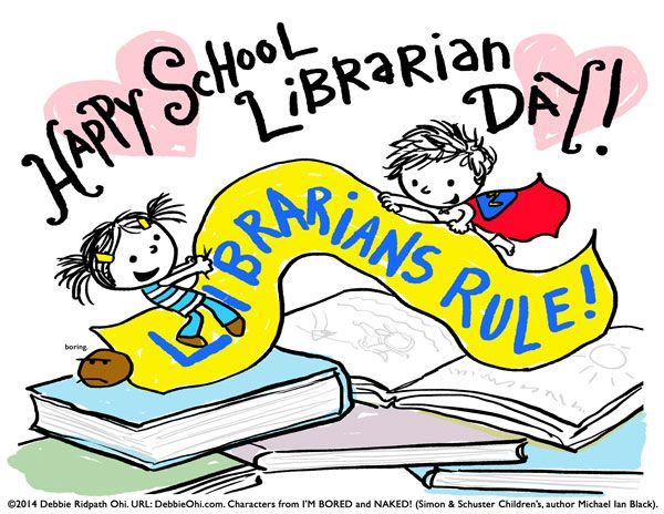 Happy School Librarian Day! Print-ready poster and bw ...