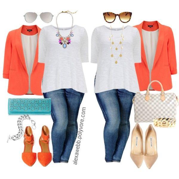 "#plus #size #outfit ""Plus Size - 2-Way Blazer"" by alexawebb on Polyvore"