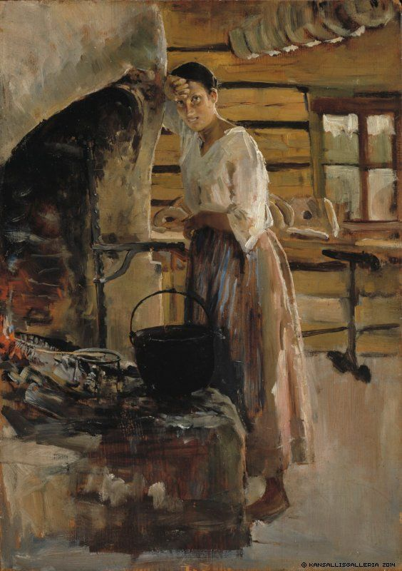 Akseli Gallen-Kallela (1861-1931) Muikunpaistaja / Woman Cooking Whitefish ; Woman grilling fish 1886 - Finland