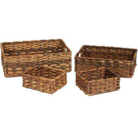 Seville Classics Handwoven Nesting Storage Basket 4-Piece Assortment, Mocha, Brown