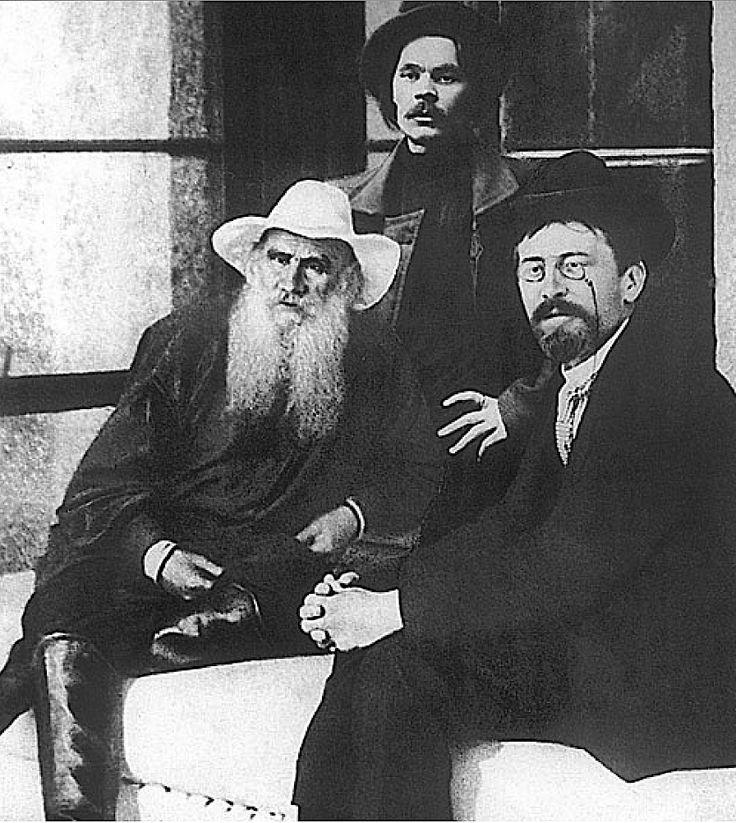 Leo Tolstoy (1828–1910), Maxim Gorky (1868–1936), and Anton Chekhov (1860–1904). Crimea, Russia, 1901.