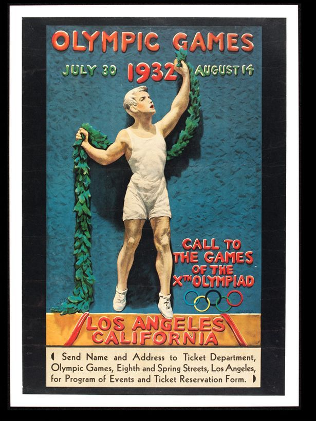 Los Angeles 1932: Julio Kilenyi designed this by making the Greek-style figure out of clay, which was then photographed and coloured in