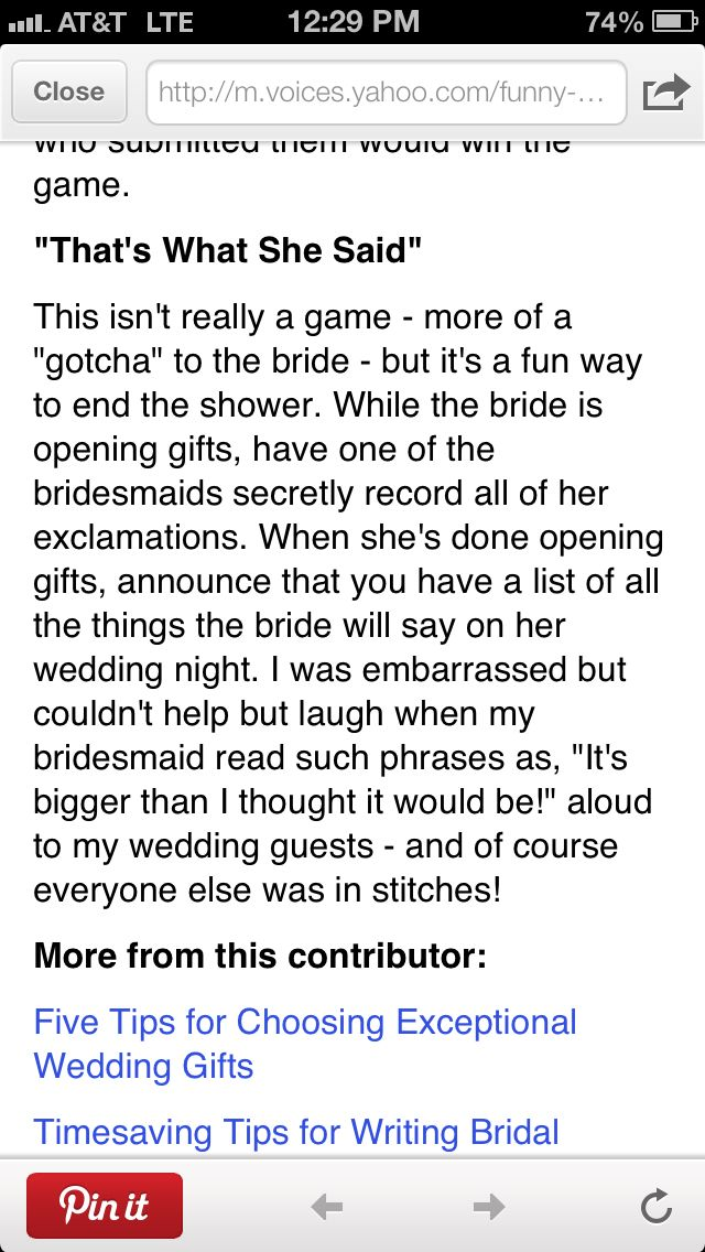 Funny Bridal Shower Game-That's what she said...maybe for just us to enjoy later teehee!