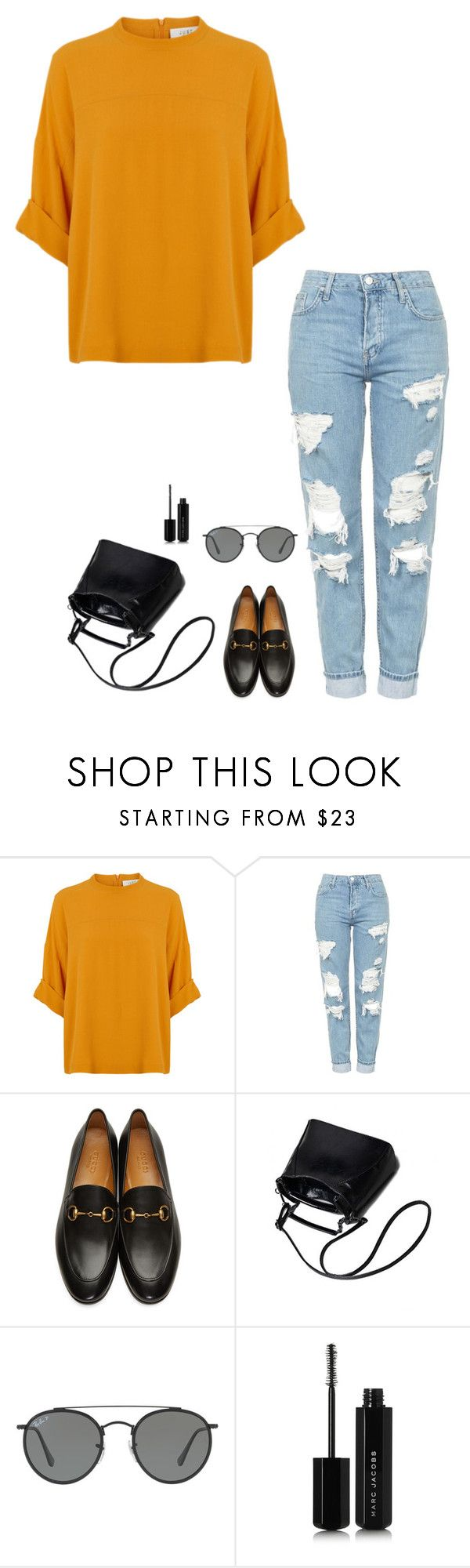 """""""Untitled #1137"""" by h1234l on Polyvore featuring Topshop, Gucci, Ray-Ban and Marc Jacobs"""