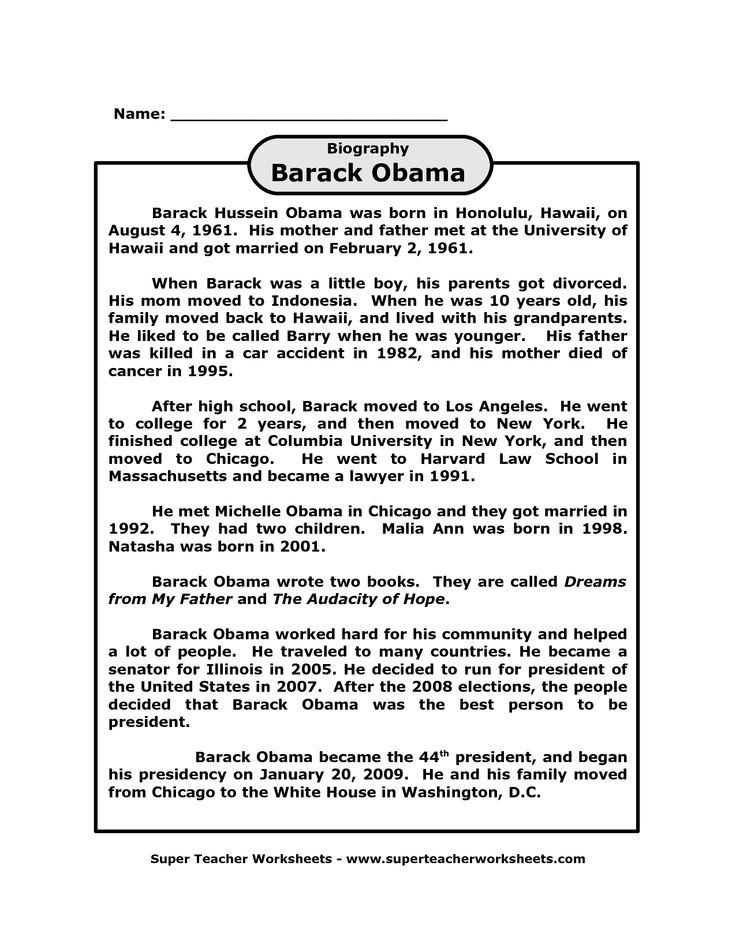 Barack Obama biography printable on super teacher worksheets.com