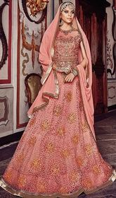 Salmon Color Shaded Net Embroidered Long Anarkali Suit