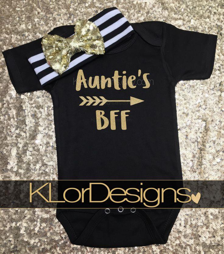 Auntie is my Bestie onesie, Baby Girl onesie, Auntie My Aunt Loves Me, baby shower gift, baby girl bodysuit, Auntie's BFF, auntie onesie by KLorDesigns