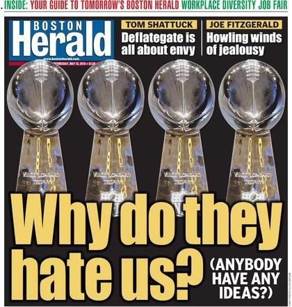 It's so unbecoming when an entire city whines.  Tom Brady suspended for 4 games for cheating & Patriots lose 1st rd. pick in 2016 and 4th rd. pick in 2017