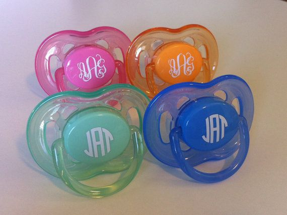 Monogrammed Pacifier for Babies and Kids by AbigailLeeHome on Etsy, $16.00