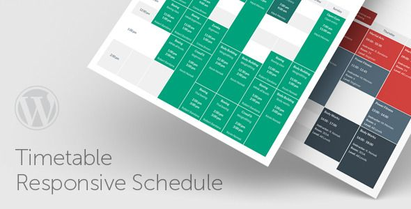Timetable Responsive Schedule For WordPress is a powerful and easy-to-use schedule plugin for WordPress. It will help you to create a timetable view of your events in minutes. It is perfect for gym classes, school or kindergarten classes, medical departments, nightclubs, lesson plans, meal plans etc. Tags: wordpress plugin, calendar, classes, courses, event, gym, manager, plan, planner, schedule, scheduler, school, table, time, timetable.