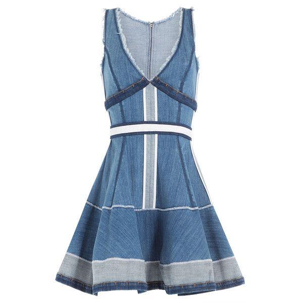 Dsquared2 Denim Dress found on Polyvore featuring dresses, blue, dsquared2 dress, v neck dress, v-neck dresses, slimming dresses and blue v neck dress