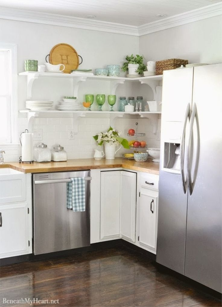 Storage And Organization , Open Shelving Kitchen Storage Solution : Open Shelving  Kitchen White Brackets And