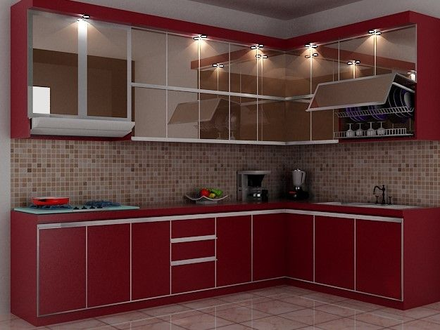 Model Kitchen Set L Mini untuk Dapur Mungil 7 - Warna Merah Lantai Keramik