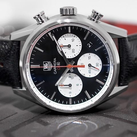 REPOST!!!  Tag Heuer Carrera CH 80 Chronograph. Black face with white sub-dials. First designed in 1963 the Carrera was designed to replace the previous Chronograph models with renewed style and engineering. #watch #tag #taghueur #carrera #chronograph #CH80  Photo Credit: Instagram ID @watchstudy