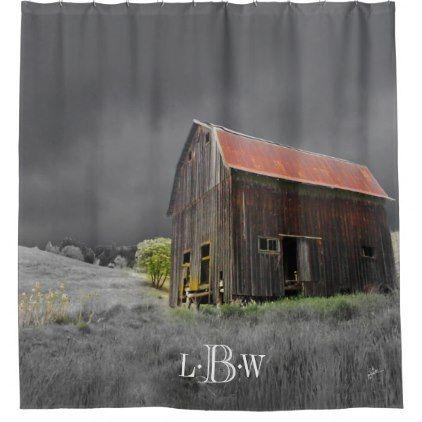 Rustic Old Barn Vintage Farmhouse Custom Monogram Shower Curtain - barn gifts style ideas unique custom