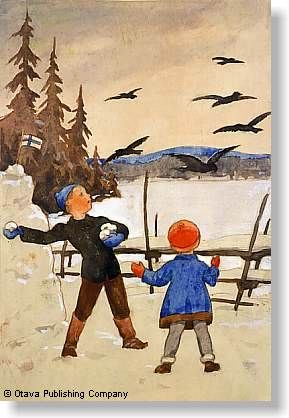 Crows. Via The chawed Rosin. Old Finnish Christmas card