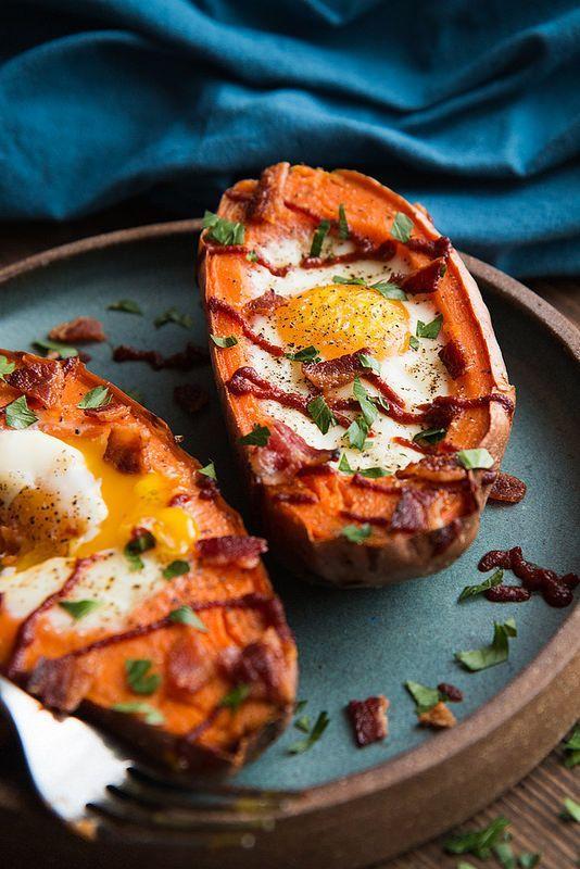 Baked Sweet Potato And Egg Breakfast Boats