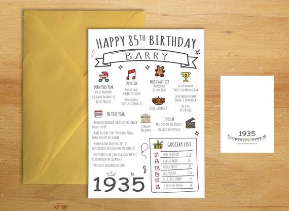 85th 1935 Eighty Five Birthday Greeting Card His Her Funny Mum Etsy Birthday Greeting Cards Birthday Greetings 65th Birthday Cards