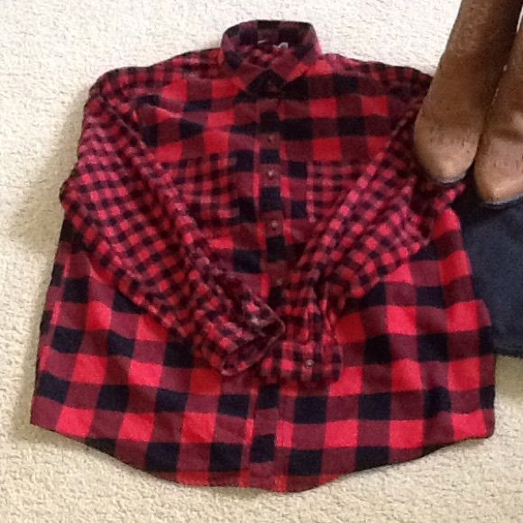 **HOST PICK*** Cozy Red and Black Flannel Shirt 100% cotton. This shirt will be stylish AND keep you warm. Tops Button Down Shirts