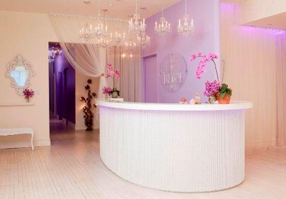 Salon Reception Desk of Tracie Martyn Salon Elegant Simplicity Salon Interiors with Pastel Purple Theme from Tracie Martyn Salon