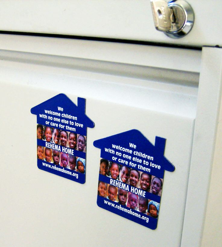 Magnets in shape of house for Rehema Home Orphanage. Desined and printed by Minuteman Press, Nottingham. Size- 70mm x 70mm