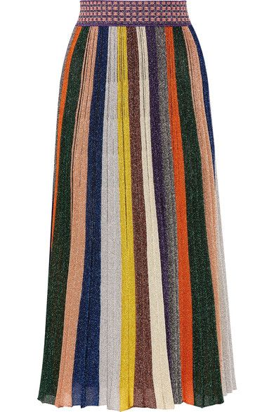 MISSONI Pleated metallic striped knitted skirt. #missoni #cloth #skirts
