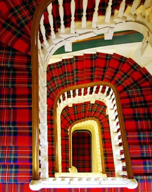 Tartan spiral staircase in The Glenburn Hotel - Rothesay, Scotland