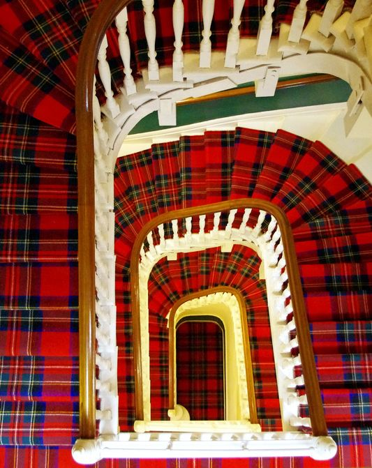 Tartan spiral staircase in The Glenburn Hotel ~ Rothesay, Scotland (detail). By William on flickr.