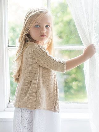 JASMINE from Little Rowan Blossom (ZB203). A collection for girls aged 3 to 6 years, featuring 15 designs by Linda Whaley   English Yarns