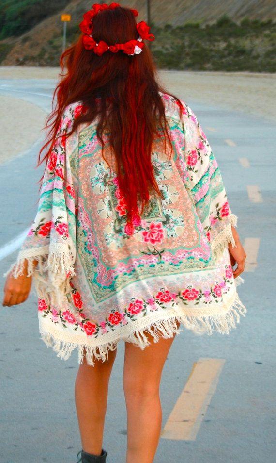 Bohemian, Boho, Chic, Floral, Fringe Kimono, Kimono, Womens Fashion, Women Fashion, Fashion, Music Festival, Fall Fashion, Hippie, Women